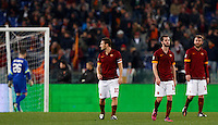 Calcio, Serie A: Roma vs Juventus. Roma, stadio Olimpico, 2 marzo 2015.<br /> From left, Roma's Morgan De Sanctis, Francesco Totti, Miralem Pjanic and Daniele De Rossi reacts after Juventus scored during the Italian Serie A football match between AS Roma and Juventus at Rome's Olympic stadium, 2 March 2015.<br /> UPDATE IMAGES PRESS/Riccardo De Luca