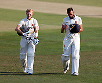 Kent centurions Jordan Cox (L) and Jack Leaning (R) walk off together at the close of play during Kent CCC vs Sussex CCC, Bob Willis Trophy Cricket at The Spitfire Ground on 9th August 2020