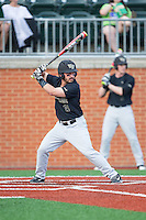Joey Rodriguez (8) of the Wake Forest Demon Deacons at bat against the Charlotte 49ers at Hayes Stadium on March 16, 2016 in Charlotte, North Carolina.  The 49ers defeated the Demon Deacons 7-6.  (Brian Westerholt/Four Seam Images)