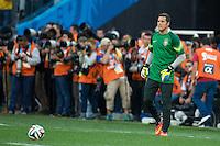 Brazil goalkeeper Julio Cesar warming up before kick off