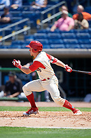 Clearwater Threshers left fielder Kevin Markham (5) follows through on a swing during a game against the Jupiter Hammerheads on April 11, 2018 at Spectrum Field in Clearwater, Florida.  Jupiter defeated Clearwater 6-4.  (Mike Janes/Four Seam Images)