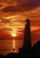 Sunrise at Portland Head Lighthouse Portland Maine USA.