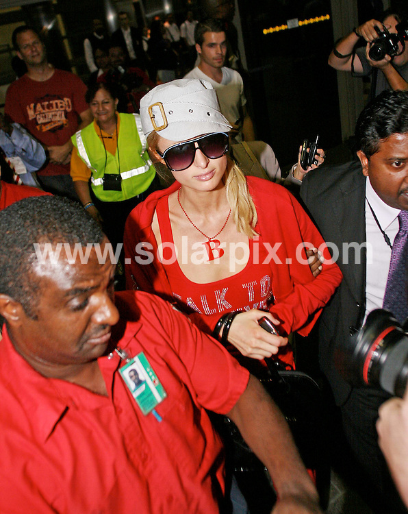 **ALL ROUND PICTURES FROM SOLARPIX.COM**.**WORLDWIDE SYNDICATION RIGHTS EXCEPT FOR USA, AUSTRALIA & GERMANY**.Paris Hilton was spotted arriving at LAX Airport in LA USA from a trip to London...JOB REF:   7768       LAS       DATE:01.11.08.**MUST CREDIT SOLARPIX.COM OR DOUBLE FEE WILL BE CHARGED* *UNDER NO CIRCUMSTANCES IS THIS IMAGE TO BE REPRODUCED FOR ANY ONLINE EDITION WITHOUT PRIOR PERMISSION*