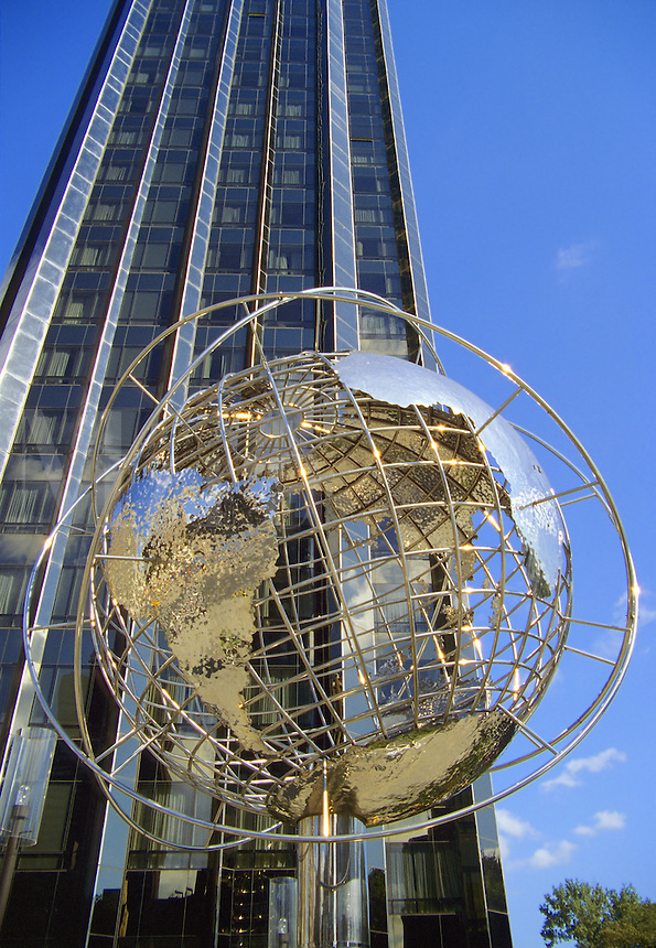 New York City.Globe motif at base of Trump International Hotel and Tower on Central Park West