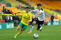 20th February 2021; Carrow Road, Norwich, Norfolk, England, English Football League Championship Football, Norwich versus Rotherham United; Max Aaron of Norwich City take on Ryan Giles of Rotherham United