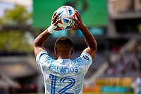 LOS ANGELES, CA - MAY 29: Diego Palacios #12 of LAFC with a throw in during a game between New York City FC and Los Angeles FC at Banc of California Stadium on May 29, 2021 in Los Angeles, California.