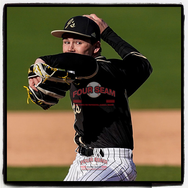 Carson Bacheller (11) of the T.L Hanna High School Yellow Jackets pitches in a game against the Greer High School Yellow Jackets on Saturday, March 20, 2021, at Fluor Field at the West End in Greenville, South Carolina. Hanna won, 4-3. (Tom Priddy/Four Seam Images)
