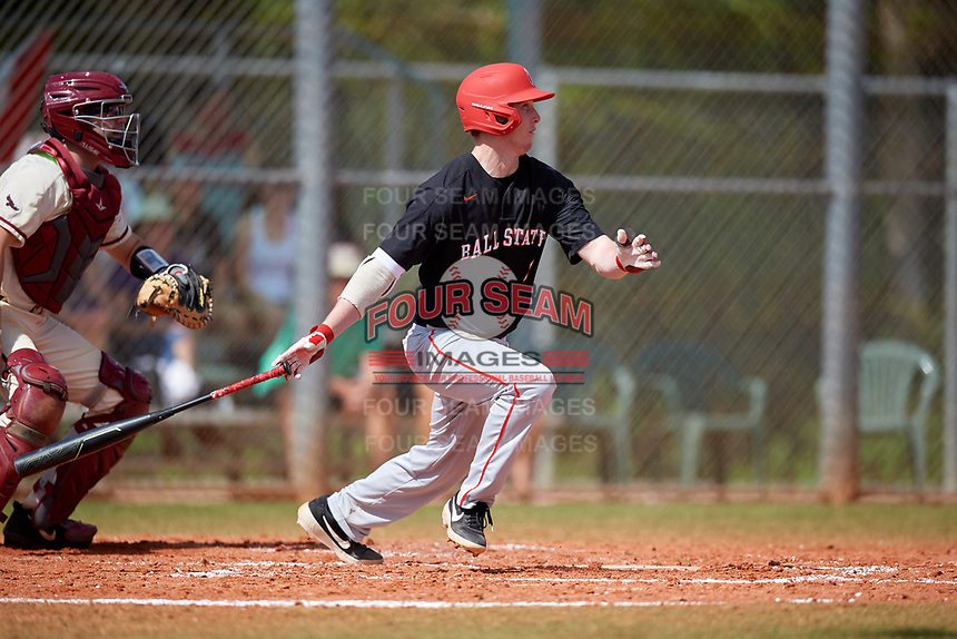Ball State Cardinals designated hitter Nick Powell (9) bats during a game against the Saint Joseph's Hawks on March 9, 2019 at North Charlotte Regional Park in Port Charlotte, Florida.  Ball State defeated Saint Joseph's 7-5.  (Mike Janes/Four Seam Images)