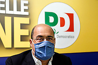 The secretary of the Italian Democratic Party Nicola Zingaretti wears a face mask during a press conference just after the results of the last regional and municipal elections.<br /> Rome (Italy), September 22nd 2020<br /> Photo Samantha Zucchi Insidefoto