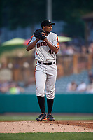 Aberdeen IronBirds starting pitcher Hector Guance (47) gets ready to deliver a pitch during a game against the Tri-City ValleyCats on August 27, 2018 at Joseph L. Bruno Stadium in Troy, New York.  Aberdeen defeated Tri-City 11-5.  (Mike Janes/Four Seam Images)