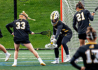 17 April 2021: UMBC Retriever Midfielder Goalkeeper Lexi Roberts, a Senior from Baldwin, MD, in action against the University of Vermont Catamounts at Virtue Field in Burlington, Vermont. The Catamounts fell to the Retrievers 11-8 in the America East Women's Lacrosse matchup. Mandatory Credit: Ed Wolfstein Photo *** RAW (NEF) Image File Available ***