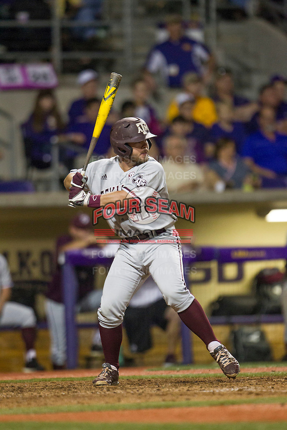 Texas A&M Aggies Designated Hitter Mitchell Nau (30) at bat during a Southeastern Conference baseball game against the LSU Tigers on April 24, 2015 at Alex Box Stadium in Baton Rouge, Louisiana. LSU defeated Texas A&M 9-6. (Andrew Woolley/Four Seam Images)