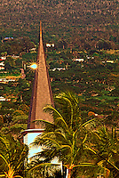 Tall palm trees surround the steeple at Mokuaikaua Church at Kailua-Kona on the Big Island of Hawaii.