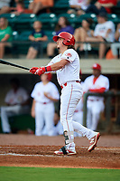 Greeneville Reds first baseman Rylan Thomas (37) hits a home run in the bottom of the fourth inning during a game against the Pulaski Yankees on July 27, 2018 at Pioneer Park in Tusculum, Tennessee.  Greeneville defeated Pulaski 3-2.  (Mike Janes/Four Seam Images)