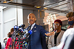 """Reverend Al Sharpton, center, speaks at a press conference in response to the George Floyd and Duante Wright cases along with Lesley McSpadden, mother of Michael Brown, right of center, and Gwen Carr, mother of Eric Garner, right, after the """"Mother's of the Movement"""" panel at the National Action Network (NAN) Virtual Convention 2021 in New York on Wednesday, April 14, 2021. Photograph by Michael Nagle"""