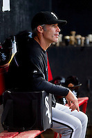 Chicago White Sox roving instructor John Orton in the Kannapolis Intimidators dugout during the South Atlantic League game against the Hickory Crawdads at L.P. Frans Stadium on May 25, 2013 in Hickory, North Carolina.  The Crawdads defeated the Intimidators 14-3.  (Brian Westerholt/Four Seam Images)