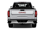 Straight rear view of a 2019 GMC Sierra 1500 SLT 4 Door Pick Up stock images