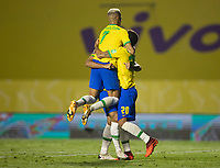 13th November 2020; Morumbi Stadium, Sao Paulo, Sao Paulo, Brazil; World Cup 2022 qualifiers; Brazil versus Venezuela;  Roberto Firmino of Brazil celebrates his goal in the 67th minute 1-0 with team, mate Richarlison