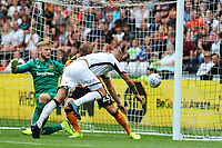 Mike van der Hoorn of Swansea City scores his side's second goal during the Sky Bet Championship match between Swansea City and Hull City at the Liberty Stadium in Swansea, Wales, UK. Saturday 03 August 2019