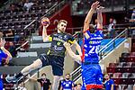 Rudolf Faluvegi (TVB Stuttgart #8) ; Tobias Heinzelmann (Balingen #28) / BGV Handball Cup 2020 Halbfinaltag: TVB Stuttgart vs. HBW Balingen-Weilstetten am 11.09.2020 in Ludwigsburg (MHPArena), Baden-Wuerttemberg, Deutschland<br /> <br /> Foto © PIX-Sportfotos *** Foto ist honorarpflichtig! *** Auf Anfrage in hoeherer Qualitaet/Aufloesung. Belegexemplar erbeten. Veroeffentlichung ausschliesslich fuer journalistisch-publizistische Zwecke. For editorial use only.