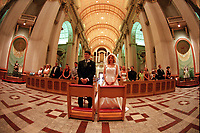 Montreal (QC) CANADA -  August 1999 file photo - MODEL RELEASE FOR EDITORIAL USE (NO PROPERTY RELEASE) - wedding in  Marie-Reine-du-Monde<br /> Basilica
