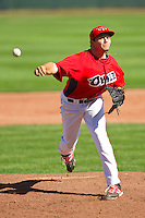 Orem Owlz relief pitcher Joey Krehbiel (31) in action against the Billings Mustangs at Brent Brown Ballpark on July 22, 2012 in Orem, Utah.  The Mustangs defeated the Owlz 13-8.  (Brian Westerholt/Four Seam Images)