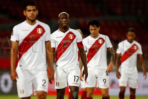 13th November 2020; National Stadium of Santiago, Santiago, Chile; World Cup 2020 Football qualification, Chile versus Peru;  Players of Peru leave dejected after the match loss