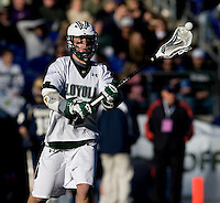 Eric Lusby (12) of Loyola looks to pass during the Face-Off Classic in at M&T Stadium in Baltimore, MD