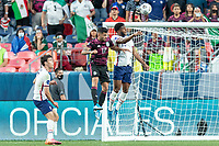 DENVER, CO - JUNE 6: Mark McKenzie # 15 of the United States wins the header during a game between Mexico and USMNT at Mile High on June 6, 2021 in Denver, Colorado.