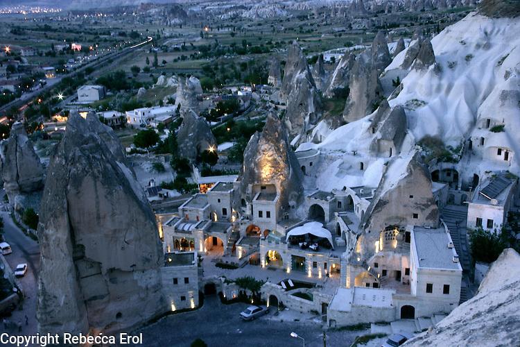 Goreme village at night, Cappadocia, Turkey