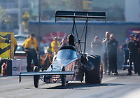 Nov 2, 2019; Las Vegas, NV, USA; NHRA top alcohol dragster driver Jasmine Salinas during qualifying for the Dodge Nationals at The Strip at Las Vegas Motor Speedway. Mandatory Credit: Mark J. Rebilas-USA TODAY Sports