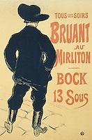 Aristide Bruant in Mirliton, 1893, by Henri de Toulouse-Lautrec (1864-1901).
