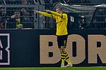 14.02.2020, Signal Iduna Park, Dortmund, GER, 1. BL, Borussia Dortmund vs Eintracht Frankfurt, DFL regulations prohibit any use of photographs as image sequences and/or quasi-video<br /> <br /> im Bild / picture shows / Erling Haland (#17, Borussia Dortmund) jubelt nach seinem Tor zum 3:0<br /> <br /> Foto © nordphoto/Mauelshagen