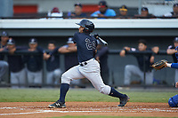 Gustavo Campero (24) of the Pulaski Yankees follows through on his swing against the Burlington Royals at Burlington Athletic Stadium on August 25, 2019 in Burlington, North Carolina. The Yankees defeated the Royals 3-0. (Brian Westerholt/Four Seam Images)