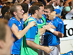 St Johnstone v FC Luzern...24.07.14  Europa League 2nd Round Qualifier<br /> Tam Scobbie is mobbed<br /> Picture by Graeme Hart.<br /> Copyright Perthshire Picture Agency<br /> Tel: 01738 623350  Mobile: 07990 594431