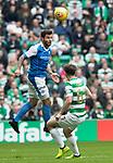 Celtic v St Johnstone …26.08.17… Celtic Park… SPFL<br />Richie Foster gets above Kieran Tierney<br />Picture by Graeme Hart.<br />Copyright Perthshire Picture Agency<br />Tel: 01738 623350  Mobile: 07990 594431