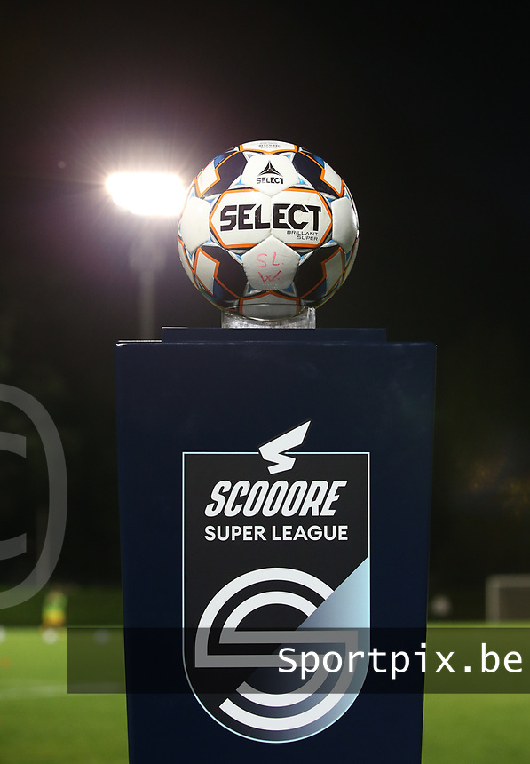 Match ball pictured before a female soccer game between FC Femina WS Woluwe and Standard Femina de Liege on the fourth match day of the 2020 - 2021 season of Belgian Womens Super League , Friday 8th of October 2020  in Liege , Belgium . PHOTO SPORTPIX.BE | SPP | SEVIL OKTEM