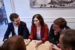 (L-R) Pablo Casado, Isabel Diaz Ayuso and Jose Luis Martinez-Almeida during the Partido Popular leader Pablo Casado voting in Madrid at Nuestra Senora del Pilar school in Madrid, Spain. November 10, 2019. November 10, 2019. (ALTERPHOTOS/A. Perez Meca)