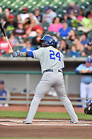 Chattanooga Lookouts third baseman Miguel Sano (24) awaits a pitch during a game against the Tennessee Smokies on April 25, 2015 in Kodak, Tennessee. The Smokies defeated the Lookouts 16-10. (Tony Farlow/Four Seam Images)