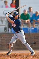 Brian Burke #9 of the Elizabethton Twins at bat against the Johnson City Cardinals at Howard Johnson Field July 3, 2010, in Johnson City, Tennessee.  Photo by Brian Westerholt / Four Seam Images