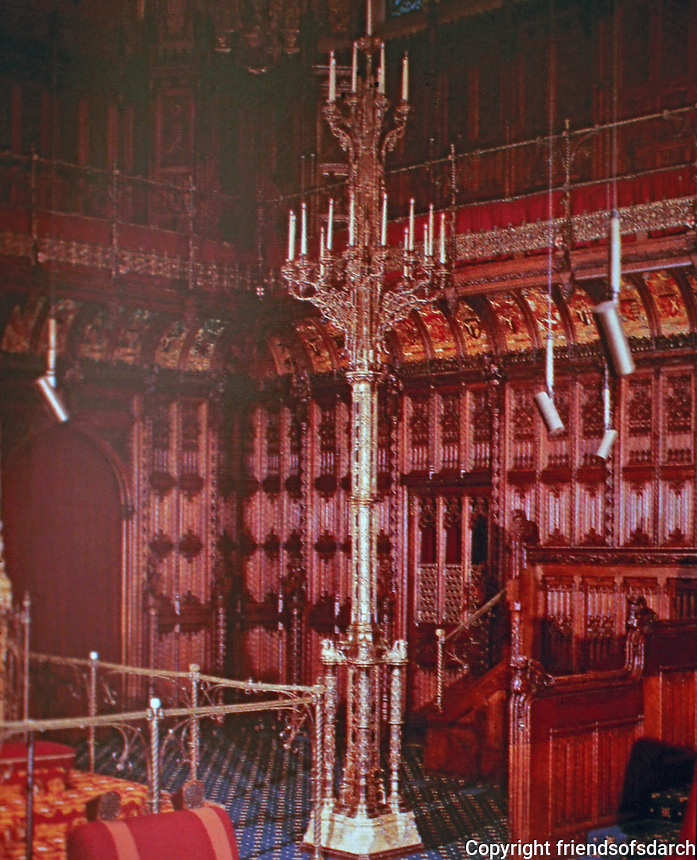 Candelabra designed by Augustus Pugin, House of Lords. London.