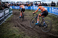 Annemarie Worst (NED) and Ceylin Del Carmen Alvarado (NED)  made it a very exciting race. <br /> <br /> Women's Elite Race<br /> UCI 2020 Cyclocross World Championships<br /> Dübendorf / Switzerland<br /> <br /> ©kramon