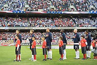 USA men's national team during national anthem. The USA defeated Honduras, 2-1, in a World Cup qualifying match at Soldier Field in Chicago, IL on June 6, 2009.