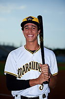 Bradenton Marauders Cole Tucker (3) poses for a photo before a game against the Clearwater Threshers on April 18, 2017 at LECOM Park in Bradenton, Florida.  Clearwater defeated Bradenton 4-2.  (Mike Janes/Four Seam Images)