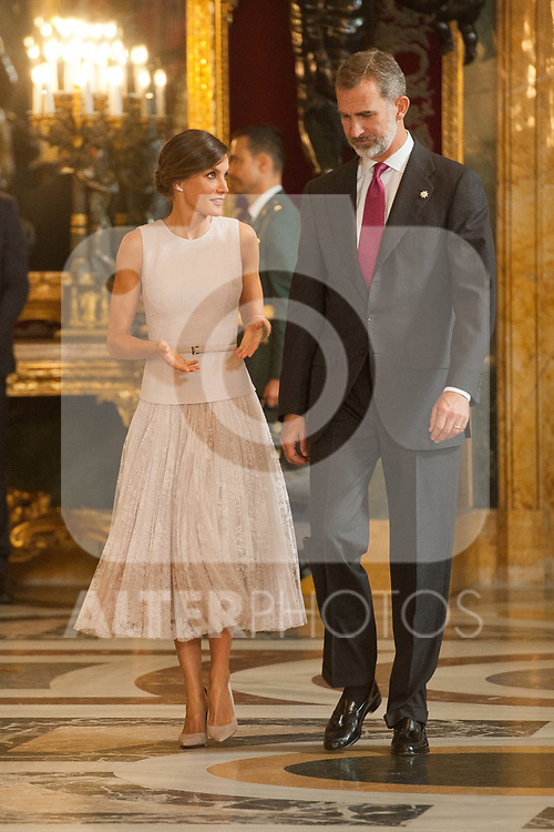 King Felipe VI of Spain and Queen Letizia of Spain attends to Sapnish National Day palace reception at the Royal Palace in Madrid, Spain. October 12, 2018. (ALTERPHOTOS/A. Perez Meca)
