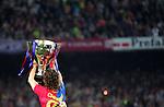 Carlos Puyol celebrates with the La Liga trophy. Barcelona v Osasuna (0-1), La Liga, Nou Camp, Barcelona, 23rd May 2009.