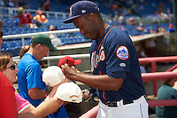 Binghamton Mets pitcher Alberto Baldonado (43) signs autographs before a game against the Richmond Flying Squirrels on June 26, 2016 at NYSEG Stadium in Binghamton, New York.  Binghamton defeated Richmond 7-2.  (Mike Janes/Four Seam Images)