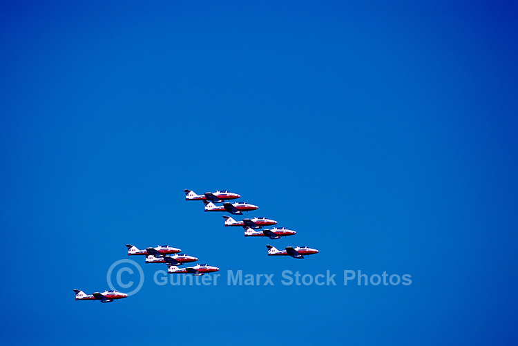 Canadian Forces Snowbirds flying in Close Formation in Sky - at Abbotsford International Airshow, BC, British Columbia, Canada