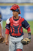 Salem Red Sox catcher Jhon Nunez (2) before the second game of a doubleheader against the Potomac Nationals on May 13, 2017 at G. Richard Pfitzner Stadium in Woodbridge, Virginia.  Potomac defeated Salem 3-2.  (Mike Janes/Four Seam Images)