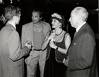 Montreal (QC) CANADA file photo -<br /> <br /> <br />  - Pierre Trudeau and son talk with Claude dubois and wife Louise Marleau